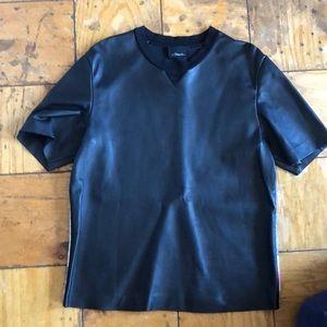 3.1 Phillip Lim Leather T-Shirt